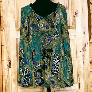 EUC Melissa Paige Green/Gold Baby Doll Blouse